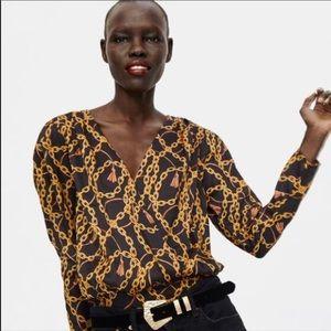 Zara Black Chain Print Wrap Bodysuit Top Large